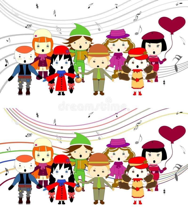 Group of kids singing stock illustration
