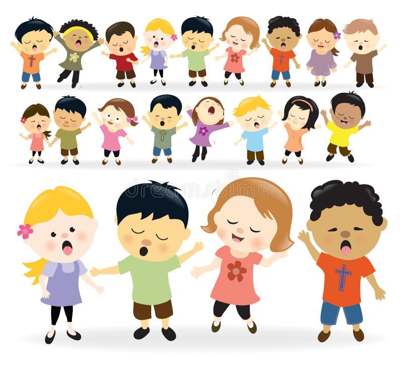 Group of kids singing vector illustration