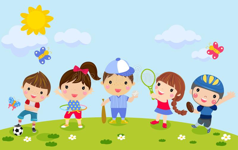 Group of kids sport set vector illustration