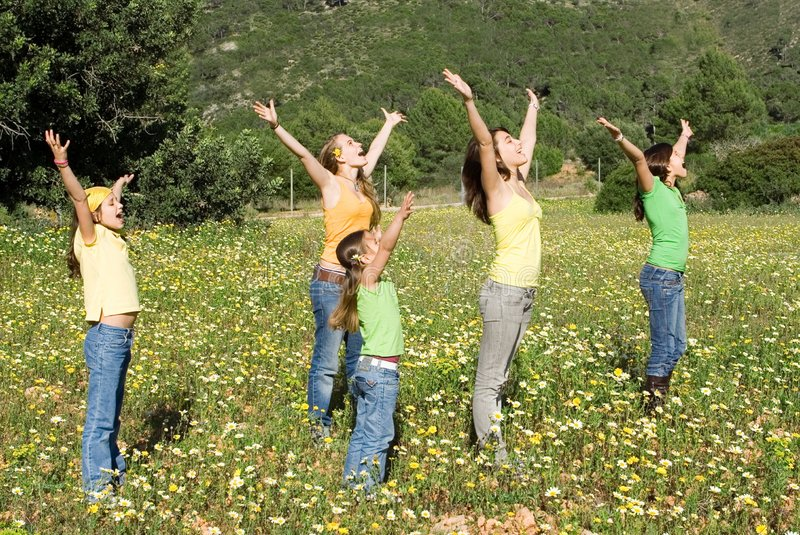Download Group of kids stretching stock image. Image of outstretched - 4639303
