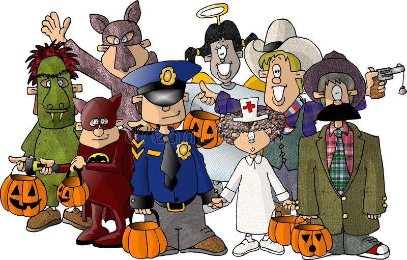Group of Kids in their Halloween costumes. This illustration that I created depicts a group of children. They all have their costumes on for Halloween trick or