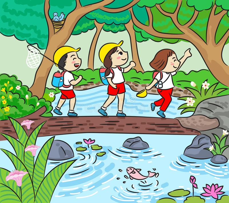 Group of kids trekking trail in forest vector illustration stock photography