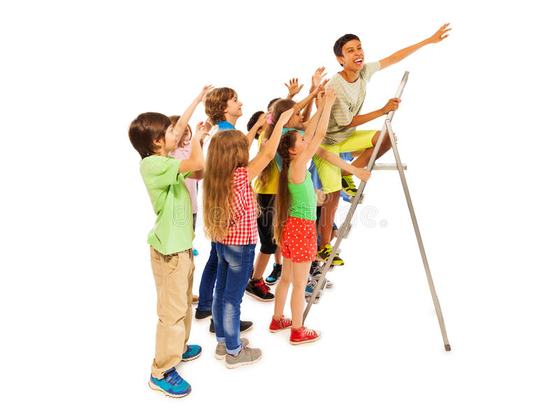 Group of kids trying to be first on ladder. Asian boy climbs on the ladder with other kids follow him, isolated on white stock image