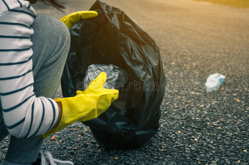 Group of kids volunteer help garbage collection charity environment. royalty free stock photos