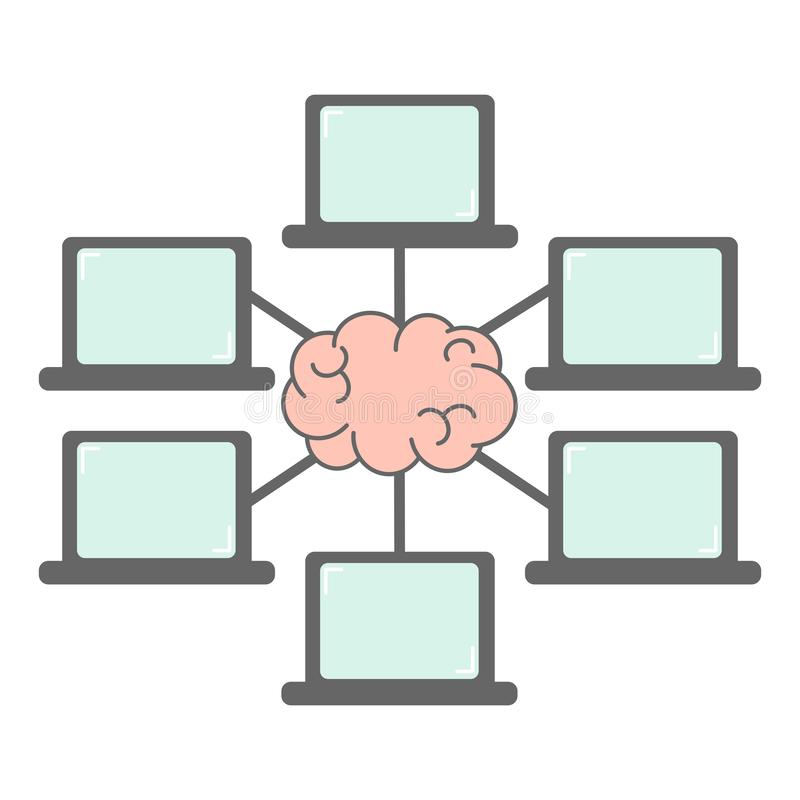 Group of laptop connection and brain network communication and webinar concept vector illustration. Group of laptop connection and brain network communication stock illustration