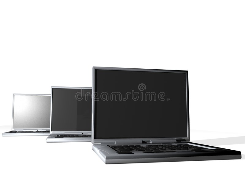 Group of laptops stock images