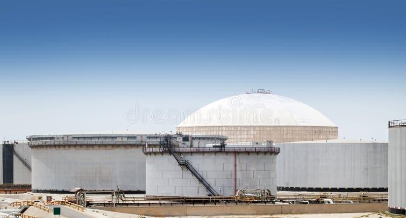 Group of large fuel tanks. Saudi Arabia. Group of large fuel tanks. Ras Tanura oil terminal, Saudi Arabia royalty free stock image