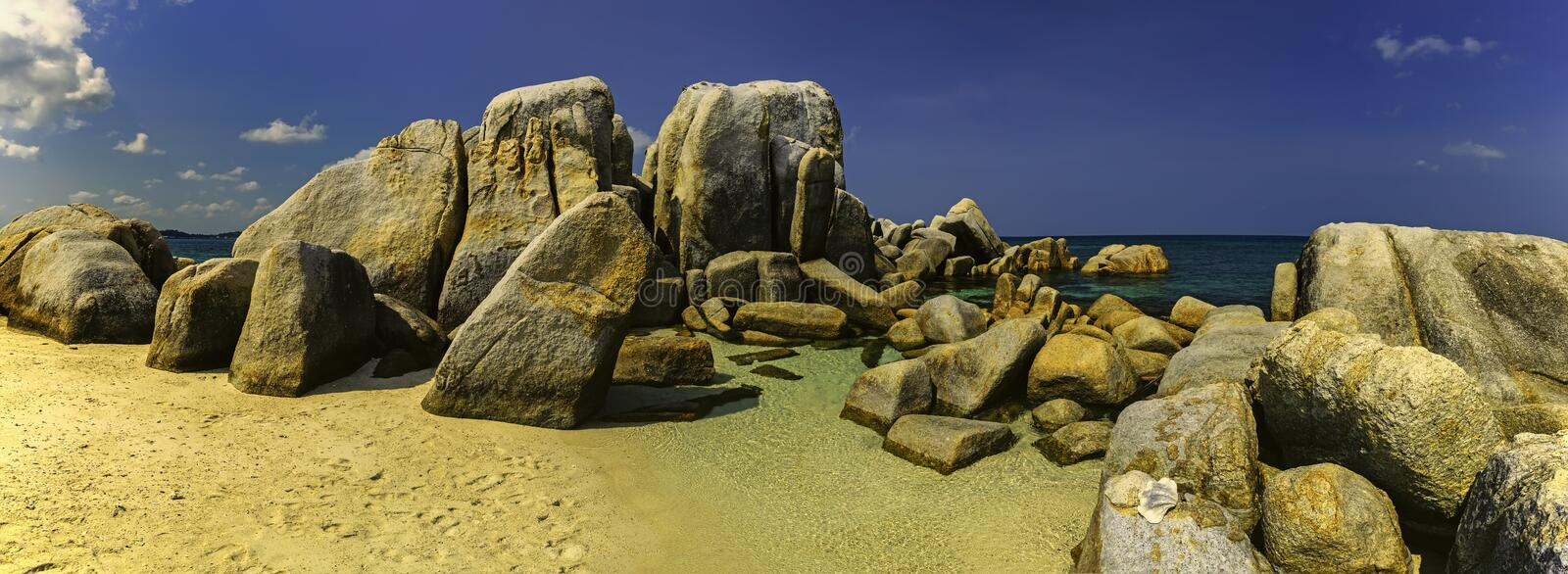 A group of large stones on the sea. Panoramic view of a group of large stones at sea royalty free stock images
