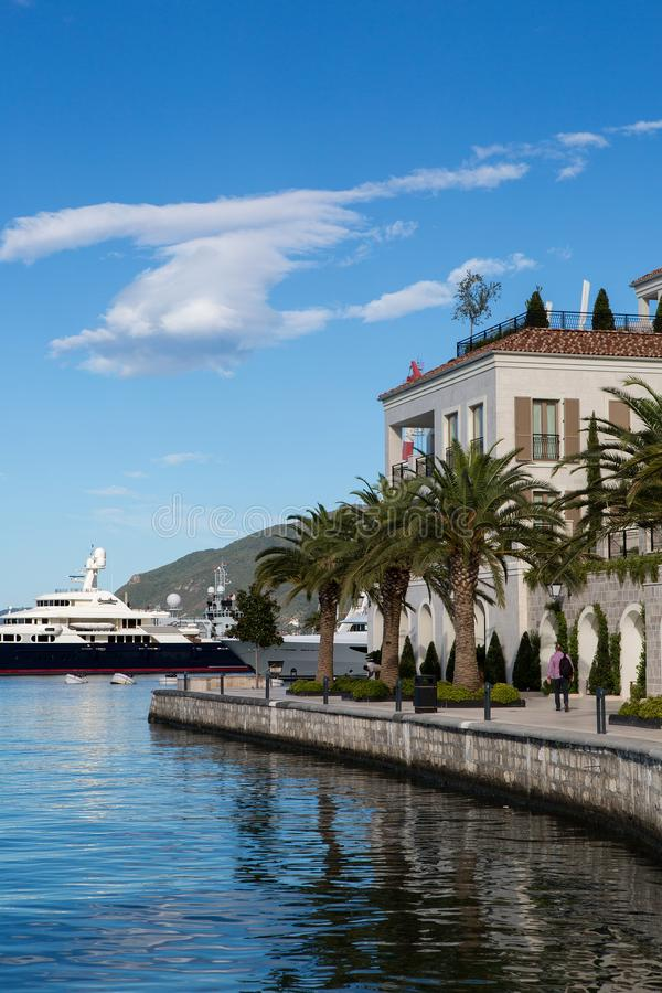Group of large yachts stands at the pier in the Bay royalty free stock image