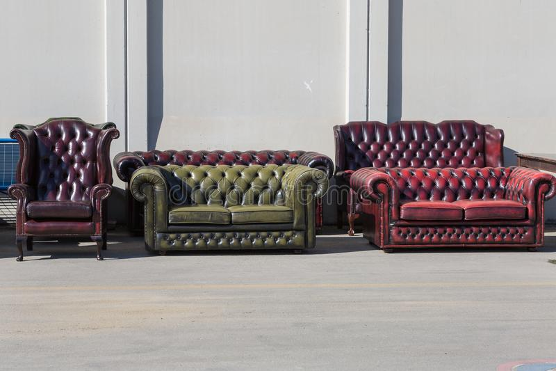 Group of Leather Sofas Outdoor, Colorful Objects.  stock image