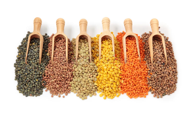 Group of lentils. Isolated on white background stock image