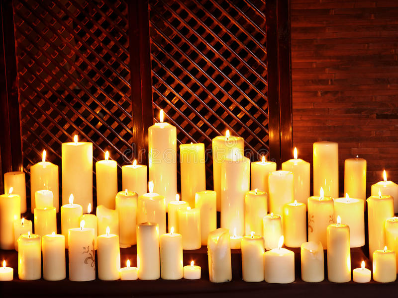 Download Group Lighted Candle In Spa Salon. Stock Image - Image: 30465541