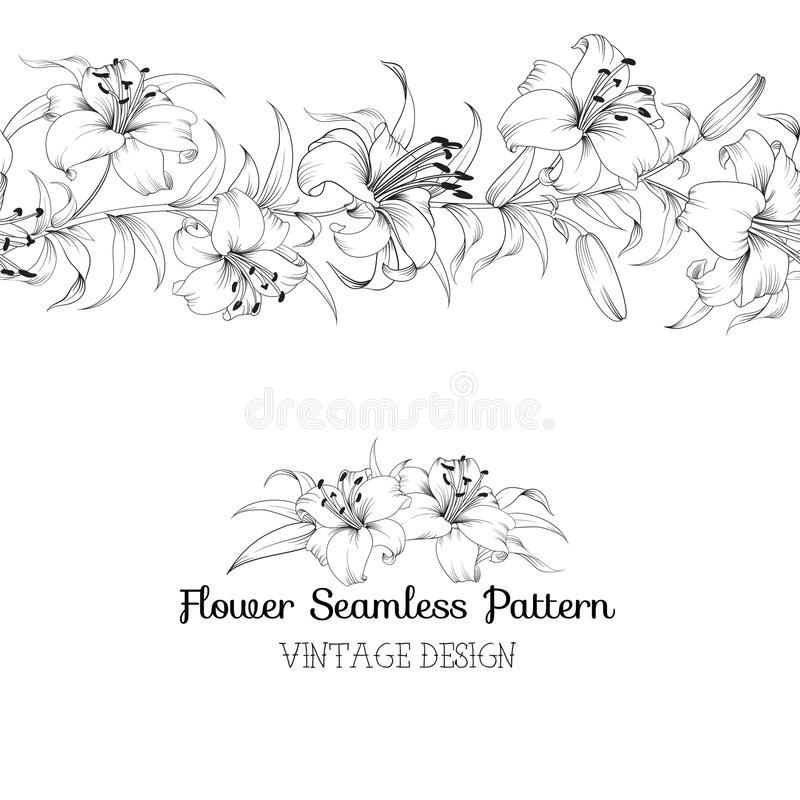 Group of lily flowers vector illustration
