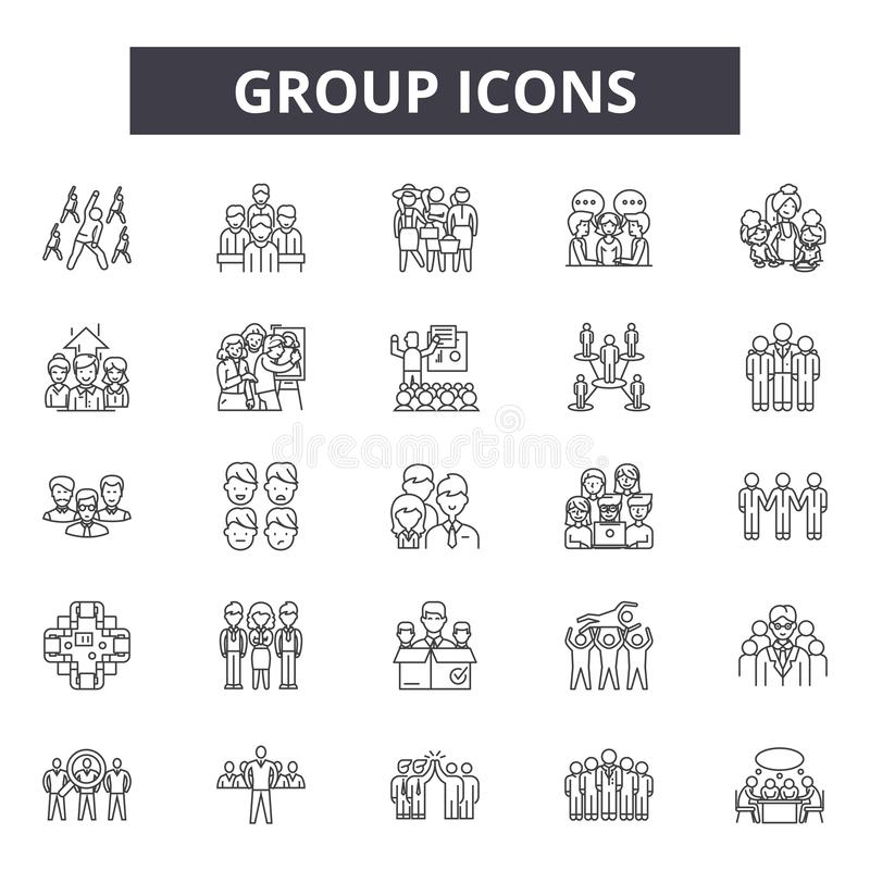 Group line icons for web and mobile design. Editable stroke signs. Group  outline concept illustrations royalty free illustration