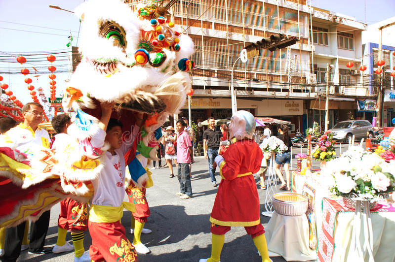 Group of Lion dancing performers during the celebration. stock photos