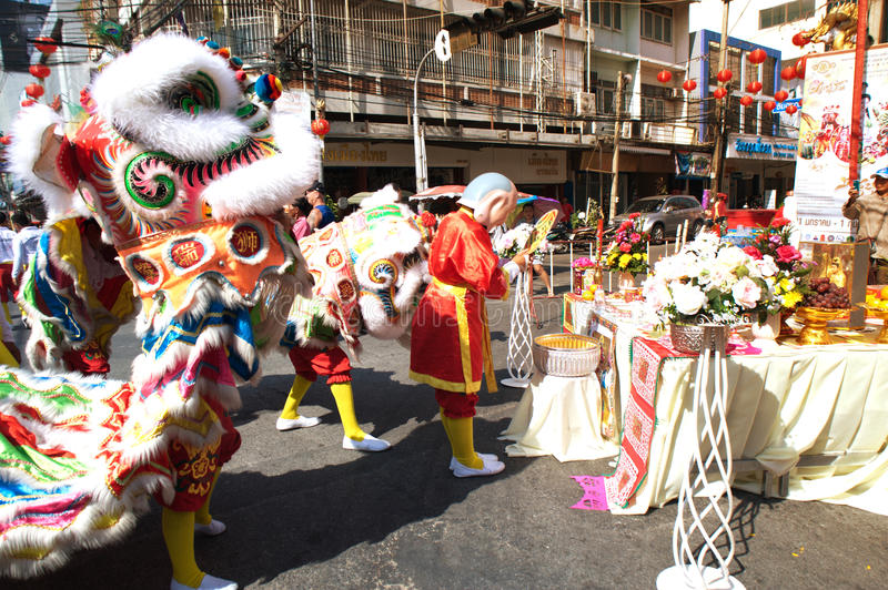 Group of Lion dancing performers during the celebration. royalty free stock photography