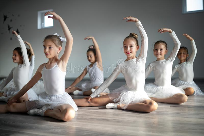 Group of little ballerinas girls doing exercises in dance school. Group of fit little ballerinas doing exercises in dance school stock photo