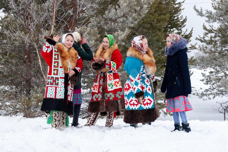A group of local girls in national costumes stock images