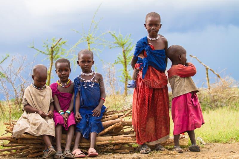 Group of Maasai's children. Photography taken in Arusha, Tanzania stock photo