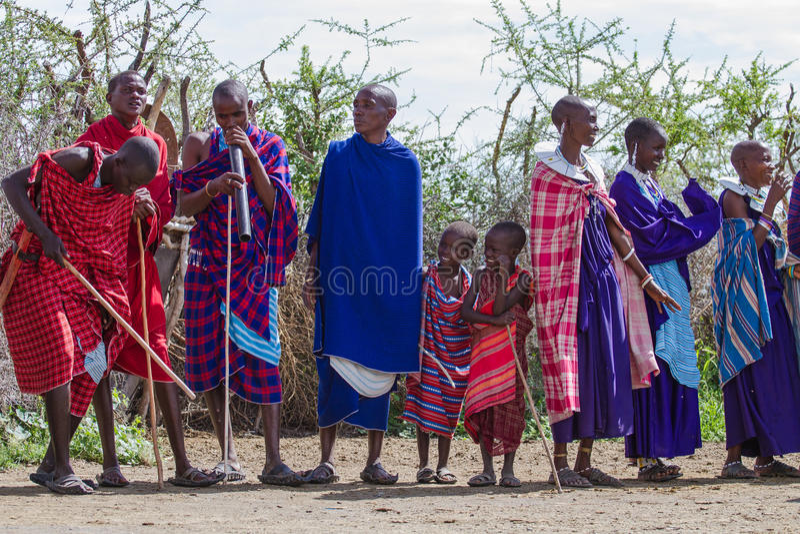 Group of Maasai's standing. Photography taken in Arusha, Tanzania stock image