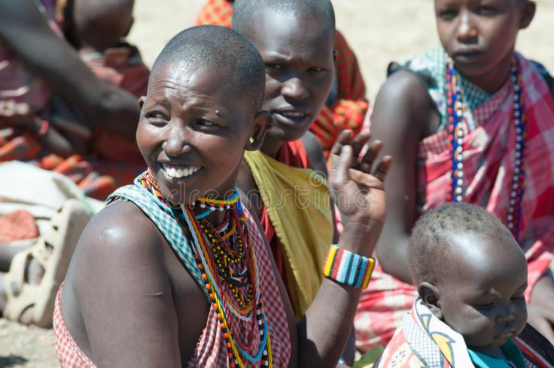Maasai tribe women with baby and child, Tanzania stock photography