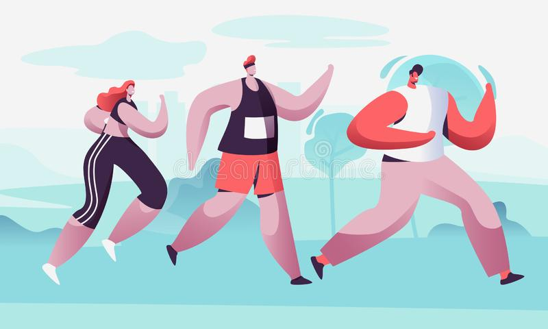 Group of Male and Female Characters Running Marathon Distance in Raw. Sport Jogging Competition. Athlete Sprinter Sportsmen. And Sportswomen Run Marathon stock illustration