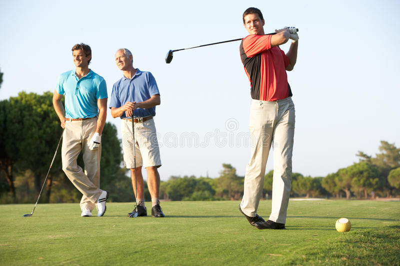 Download Group Of Male Golfers Teeing Off Stock Image - Image: 16305115