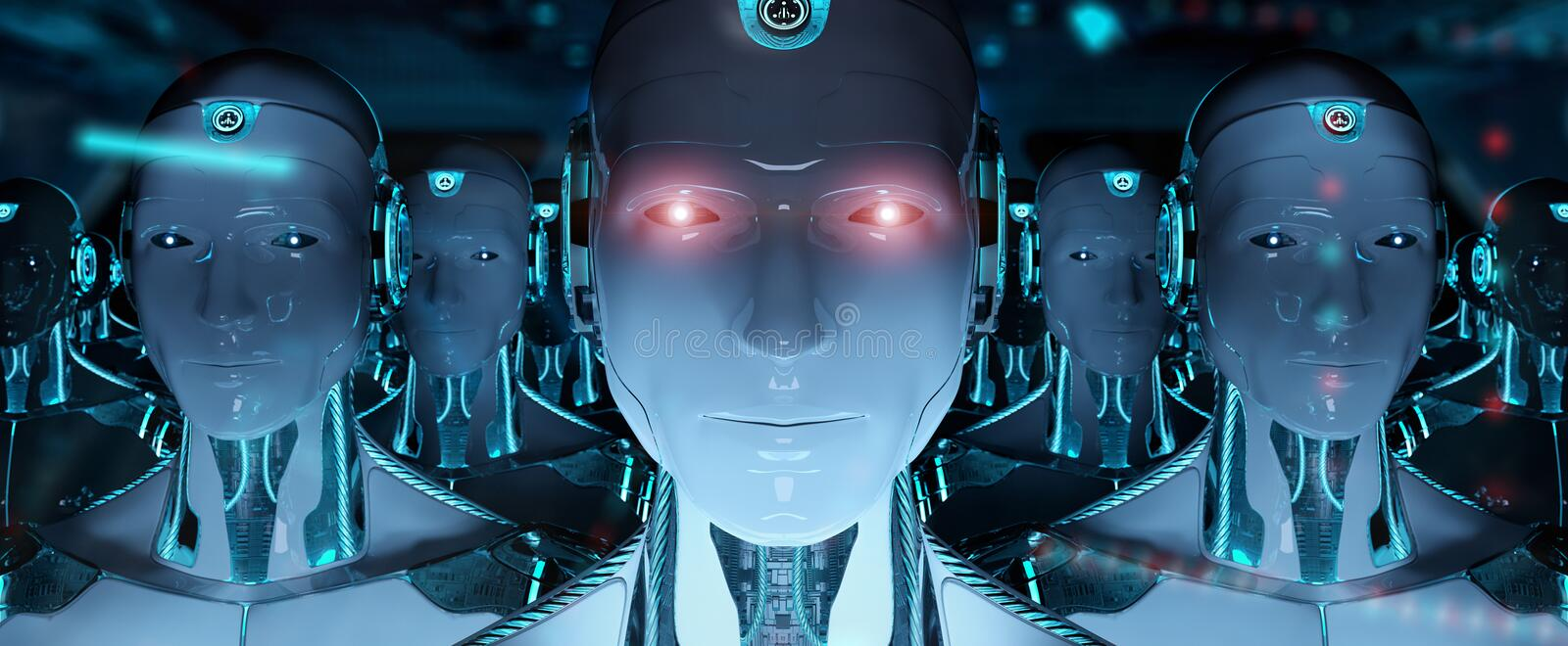 Group of male robots following leader cyborg army 3d rendering royalty free illustration