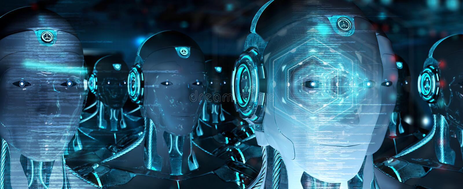 Group of male robots heads using digital hologram screens 3d rendering royalty free illustration