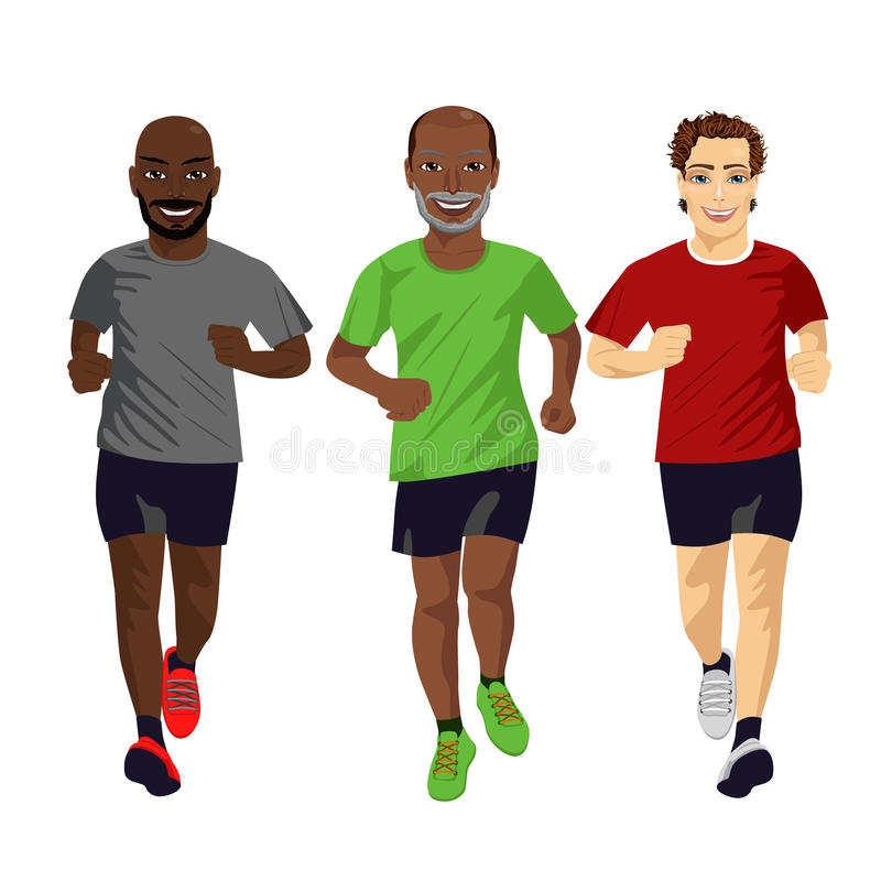 Group of male runners exercising stock illustration