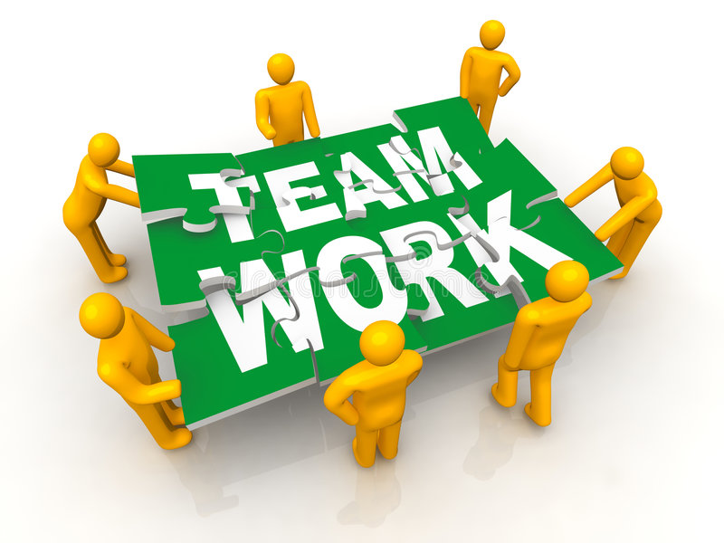 Group of man assembling Team Work puzzle vector illustration