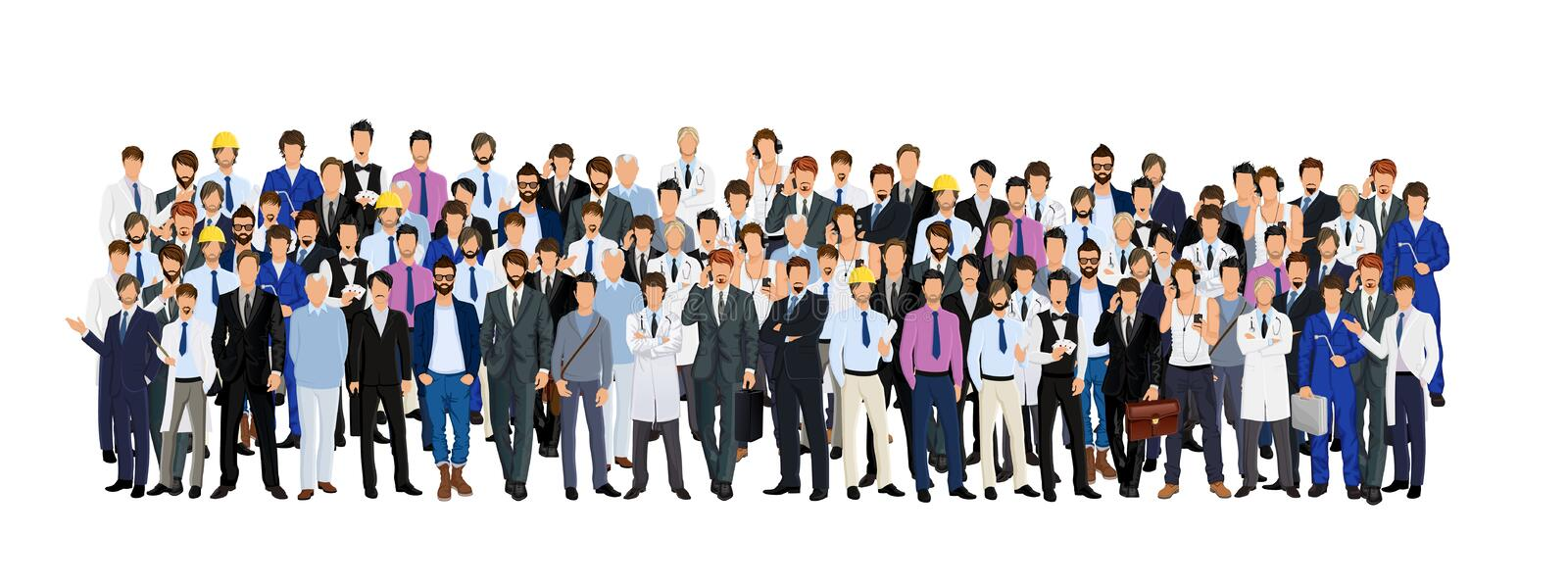 Group of man. Large group crowd of different age men male professionals businessmen vector illustration vector illustration