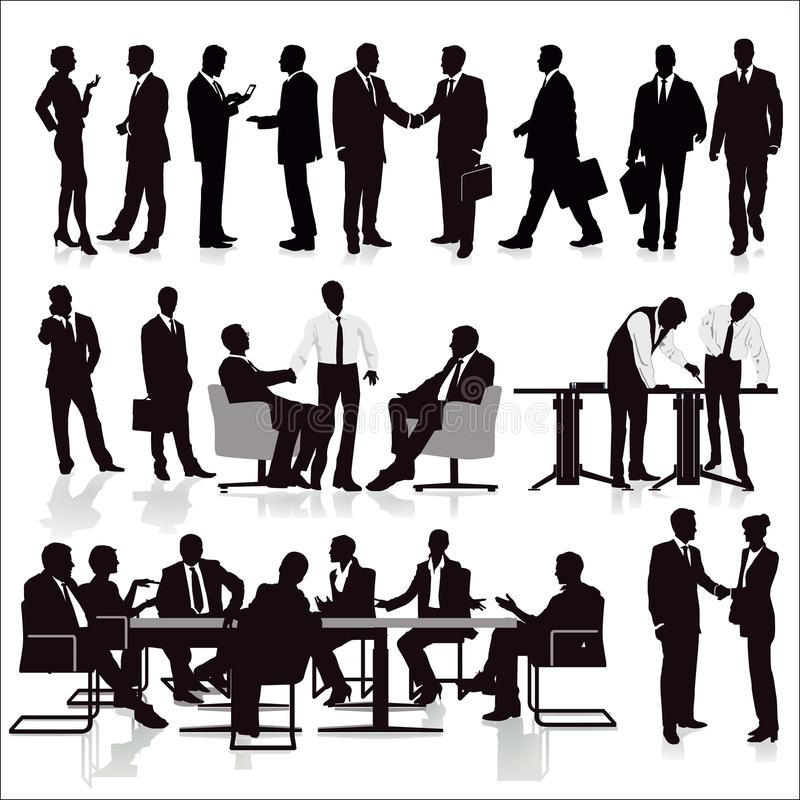 Group of managers. An illustration of the silhouettes of managers and office workers in meeting and doing teamwork vector illustration