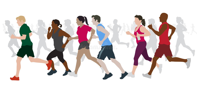 Group of Marathon Runners stock illustration