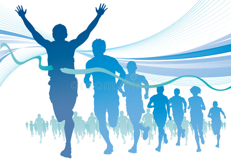 Group of Marathon Runners on abstract swirl backgr stock illustration