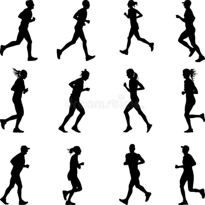Group of marathon runners silhouette vector royalty free illustration
