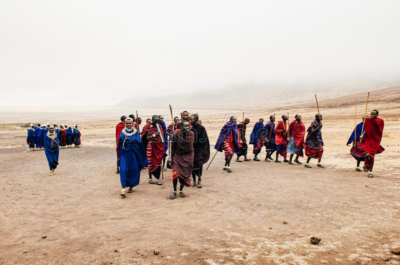 Group Masai or Maasai tribe peoples in red and blue cloth dancing. Ethnic group of Ngorongoro Consevation, Serengeti in Tanzania stock photos