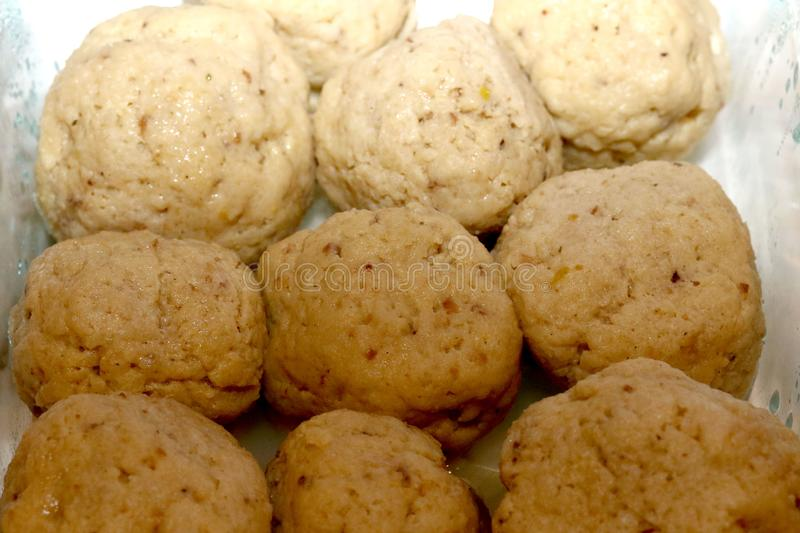 Matzo Balls in a glass dish royalty free stock image