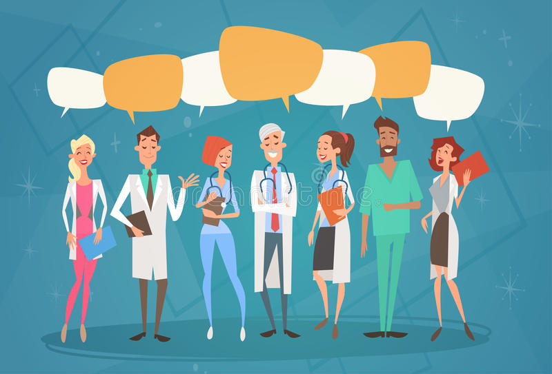 Group Medial Doctors Chat Bubble Social Network Communication Team Clinics Hospital. Flat Vector Illustration stock illustration