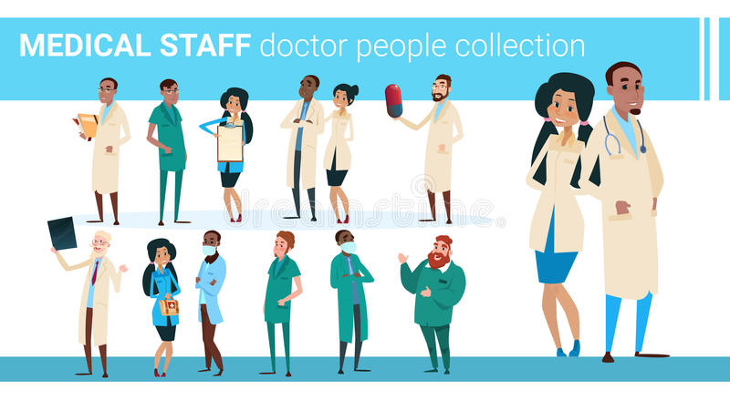 Group Medial Doctors Collection Hospital Team Clinic Banner royalty free illustration