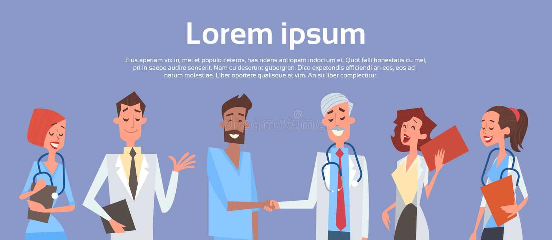 Group Medial Doctors Hand Shake Team Clinics Hospital stock illustration