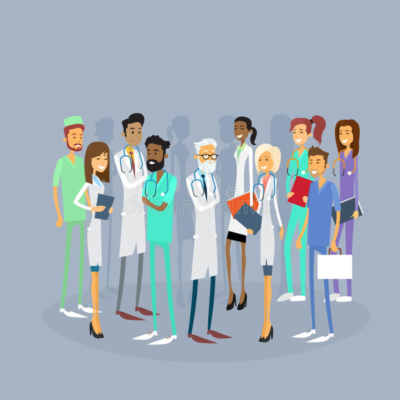 Group Medial Doctors Team Work With Leader royalty free illustration