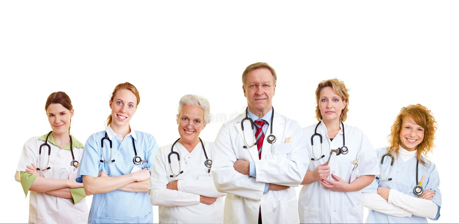 Group of medical care people. Happy group of doctors and other medical care people stock photography