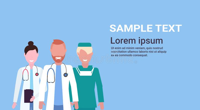 Group of medical doctors team in uniform standing together over blue background hospital medical clinic workers portrait. Flat horizontal copy space vector stock illustration