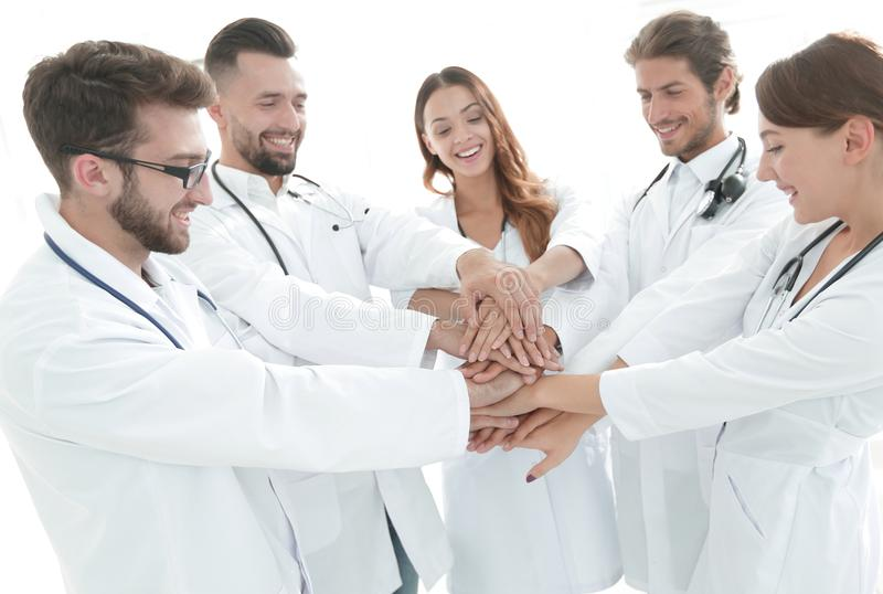 Group of medical interns shows their unity royalty free stock photography