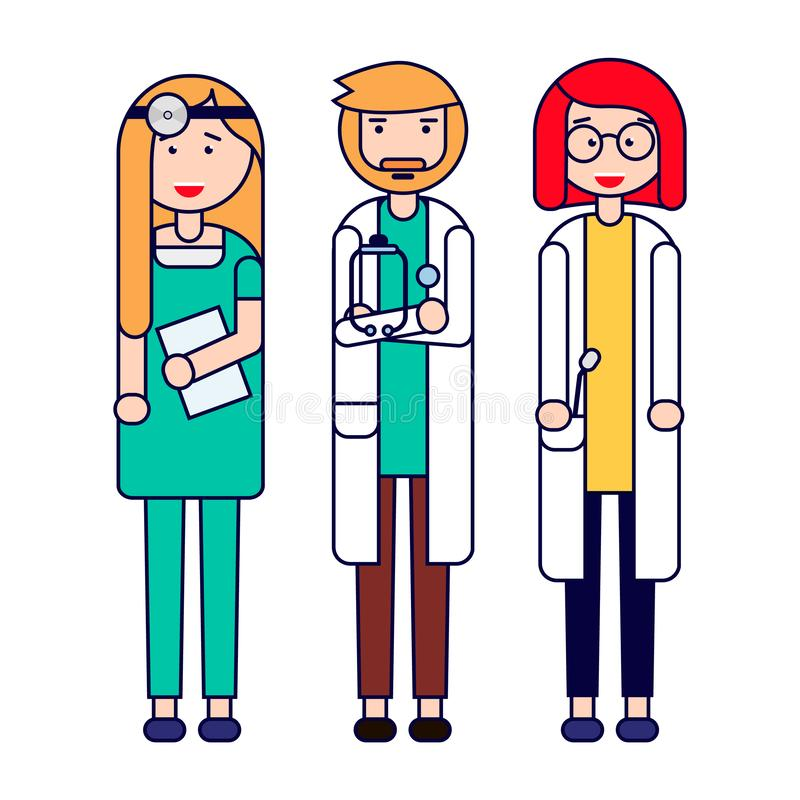 Group of medical professionals. Medical team concept in vector illustration design. Isolated on white background. Vector illustration royalty free illustration