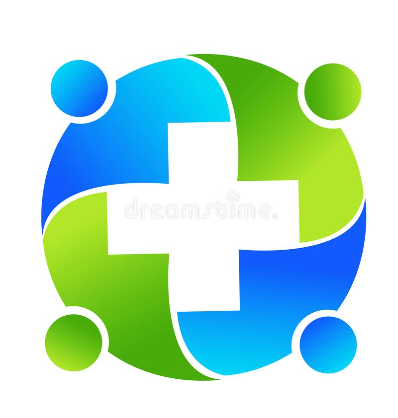 Group of medical professionals meeting together icon logo. Medical business teamwork royalty free illustration