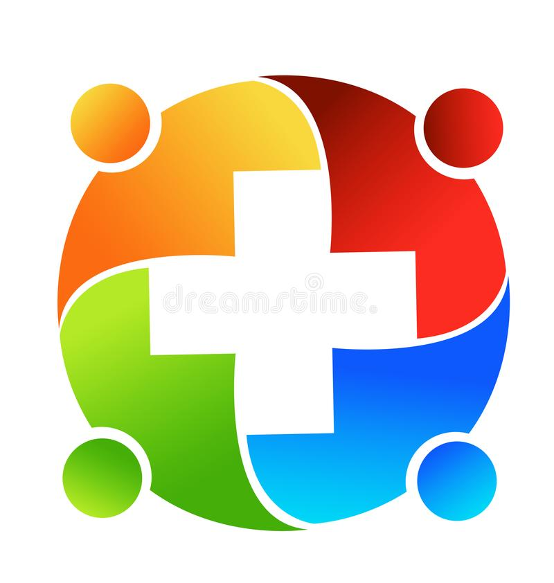 Group of medical professionals meeting together icon logo. Medical business teamwork stock illustration