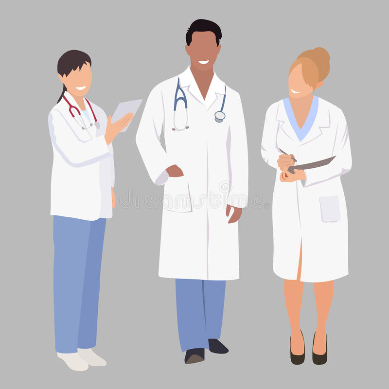 A group of medical professionals. Vector illustration three members a team. team doctors vector illustration
