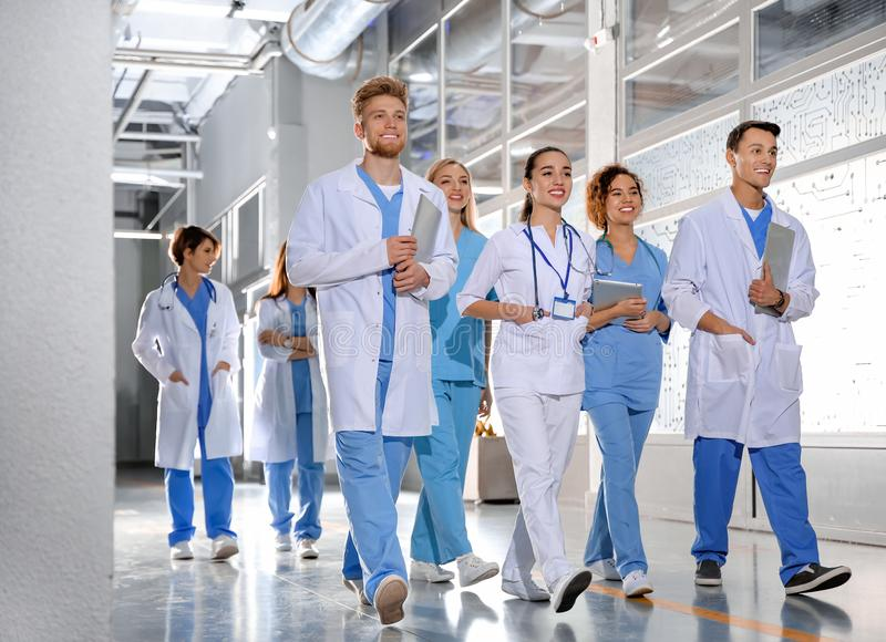 Group of medical students in college. Hallway royalty free stock photography